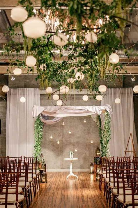 wedding greenery decor  hanging lights indoor