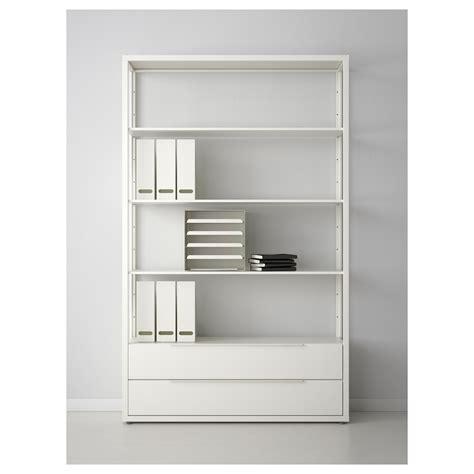shelving unit with drawers white fj 196 lkinge shelving unit with drawers white 118x193 cm ikea