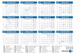 Calendario 2018 Settimane Calendario 2018