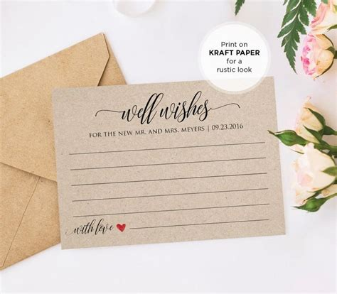 Bridal Shower Advice Cards Template by Well Wishes Printable Wedding Advice Card Template For