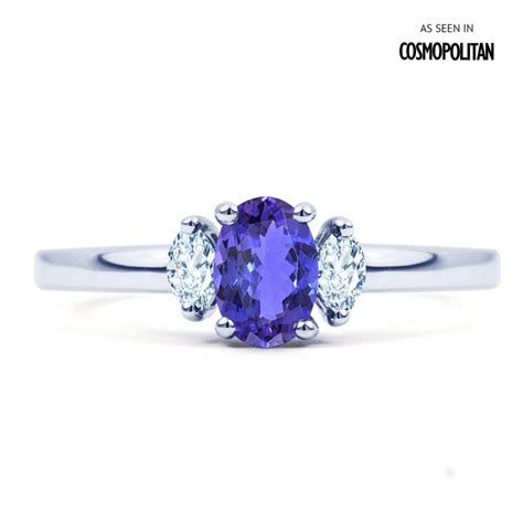 Tanzanite Engagement Rings by Rani 18ct White Gold Tanzanite And Engagement Ring