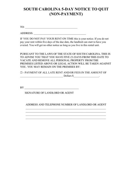 sle eviction notice south carolina south carolina 5 day notice to quit form non payment