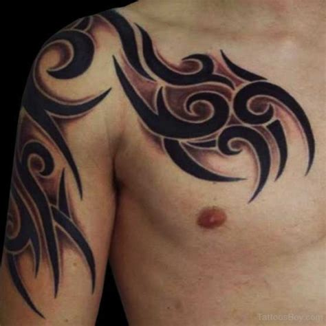 tribal tattoo on chest and shoulder tribal images designs