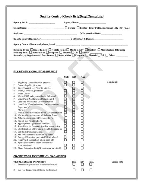Pennsylvania Weatherization Quality Control Inspection Checklist Quality Forms Templates