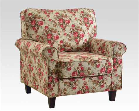 floral accent chair floral linen accent chair by acme furniture ac59315
