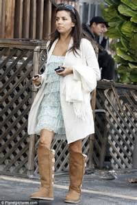 eva longoria steps out make up free in a pair of knee high uggs daily mail online