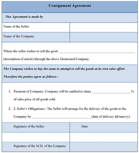 printable consignment agreement template sle printable