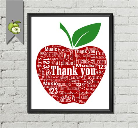 printable apple gift cards teacher appreciation gift word art apple thank you apple