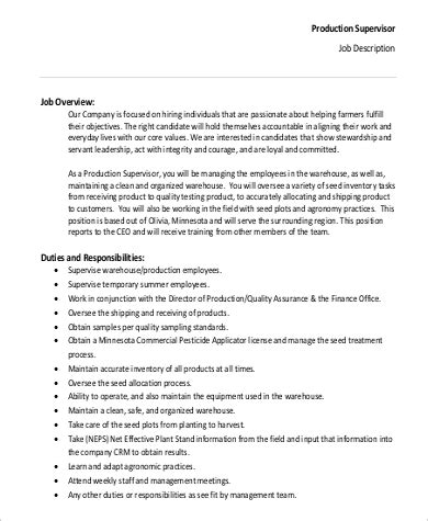 production supervisor job description sample 9 examples
