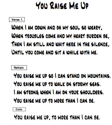 Raise Me Up Letra pin you raise me up lyrics on