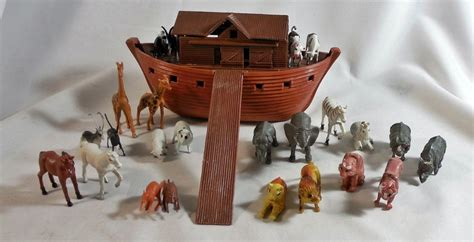 noah s ark boat with animals pin vintage marx or arco noahs ark plastic boat ship w 25