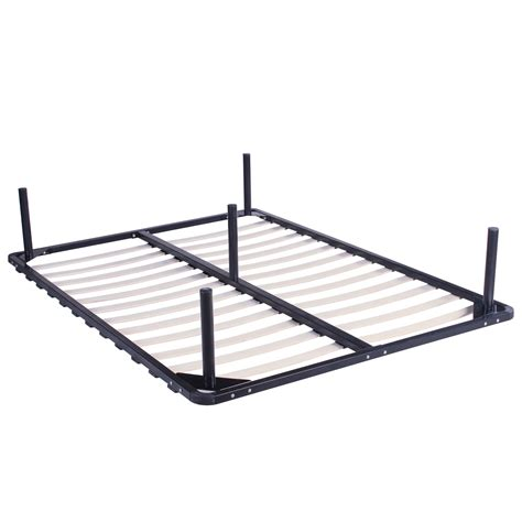 Mattress On Bed Frame Size Wood Slats Metal Bed Frame Platform Bedroom Mattress Foundation Ebay