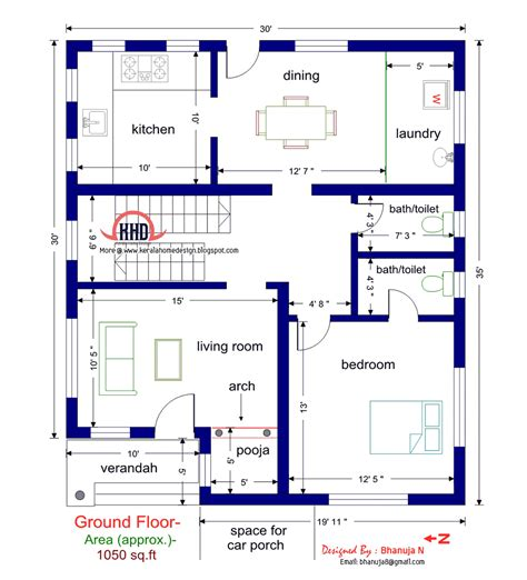 in ground home plans floor plan and elevation of 1925 sq feet villa kerala