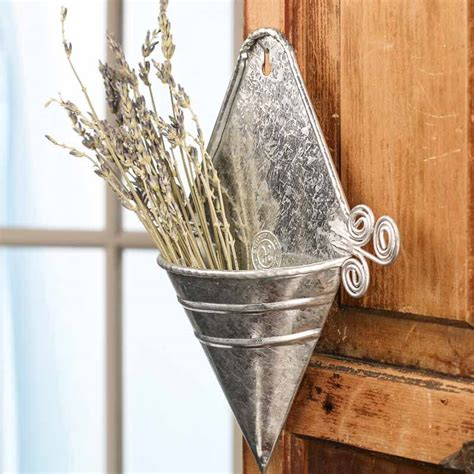 Metal Wall Vase by Galvanized Metal Cone Wall Pocket Wall Decor Home Decor
