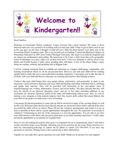 Kindergarten Parent Letter Template Welcome Letter Important Info
