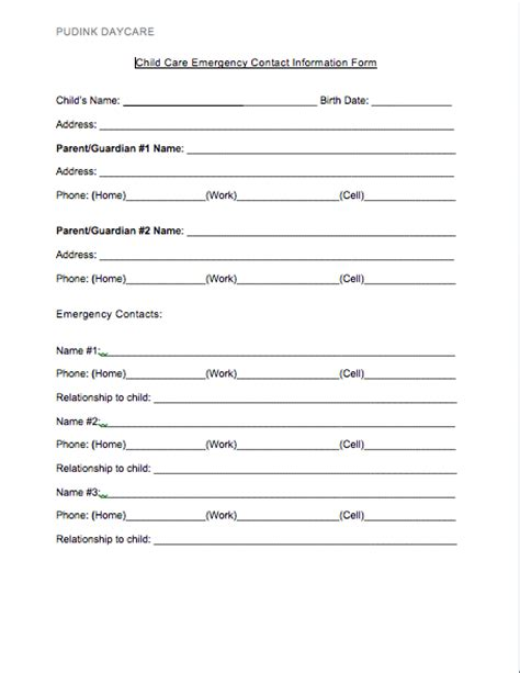daycare information sheet template free daycare forms