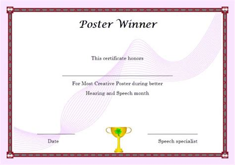 certificate of competition winner winner certificate template 40 word templates for