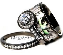 hers 3 titanium camo 925 sterling silver engagement wedding rings set ebay