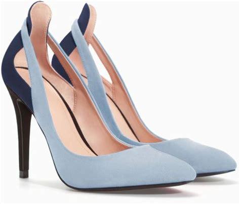 sky blue high heels zara combined high heel court shoe in blue sky blue lyst