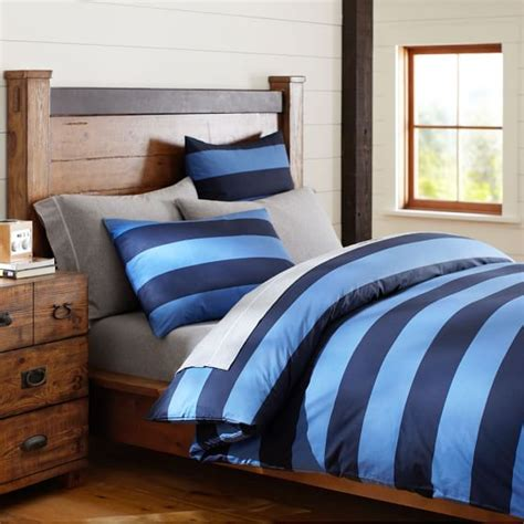 Rugby Stripe Bedding by Rugby Stripe Duvet Cover Sham Navy Blue Pbteen