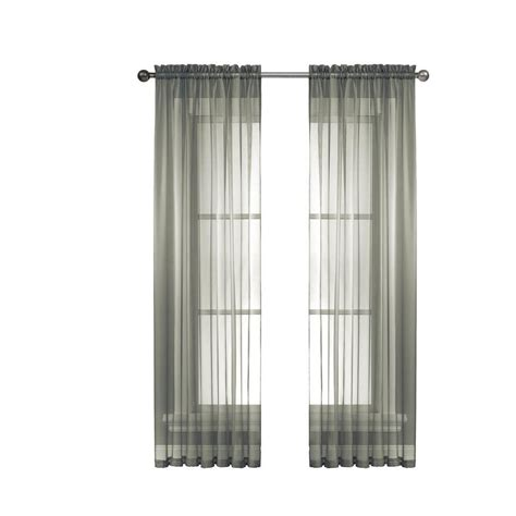 Charcoal Sheer Curtains Window Elements Sheer Charcoal Rod Pocket Wide Curtain Panel 56 In W X 63 In L