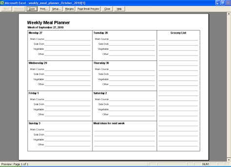 meal plan template excel weekly meal planner new calendar template site