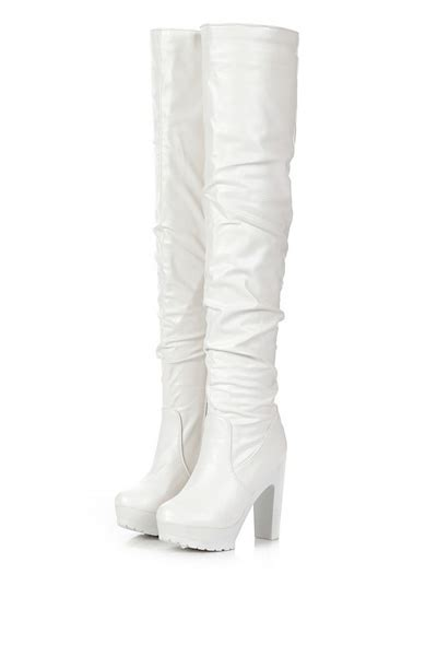 white faux leather chunky heel thigh high boots