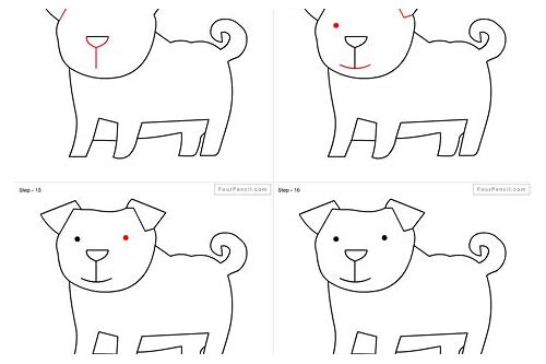 how do you draw dog step by