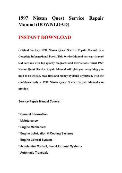 automotive repair manual 1997 nissan quest free book repair manuals 1997 nissan quest service repair manual download by kkgjdnrh issuu