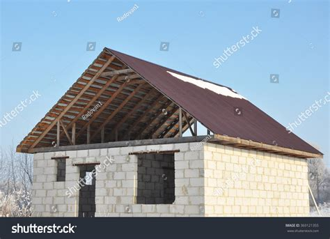 Roofing Construction. Building New House From Autoclaved