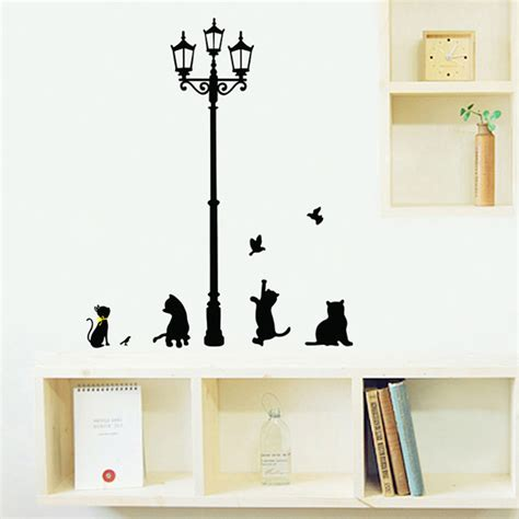 cat wallpaper home decor cartoon street l black cat vinyl wall stickers