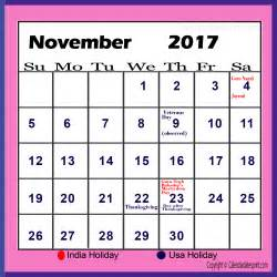 Calendar November 2017 With Holidays November 2017 Calendar With Holidays Printable Calendar