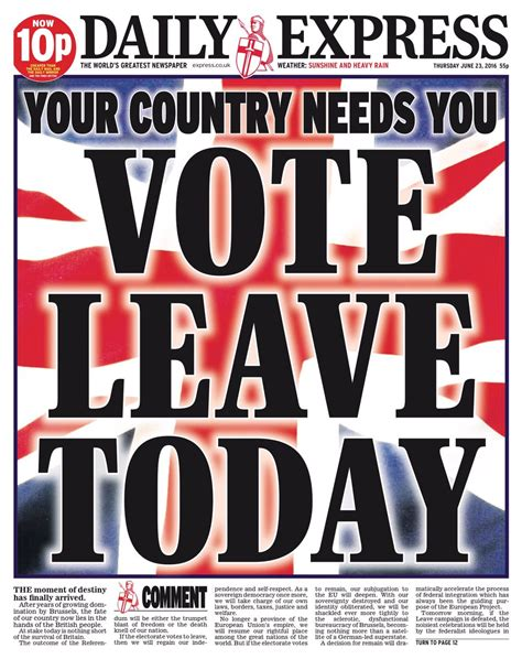 express page britain s newspaper front pages show positive brexit