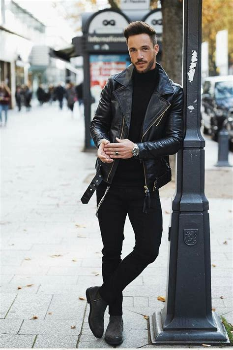 mens biker style boots all black for men black on black
