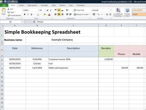 Company Bookkeeping Templates