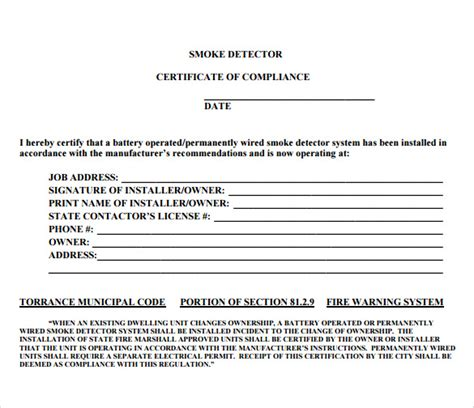 Compliance Certificate Template – Electrical Compliance Certificate Sample