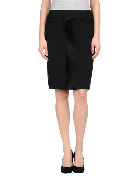 vera wang knee length skirt in black lyst