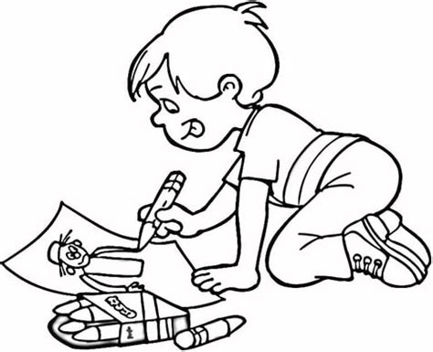 Coloring Pages To Draw boy drawing a masterpiece coloring page