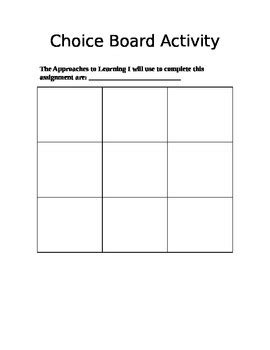 blank choice board template with ib atl s by hear me teach