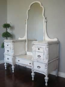 White Vintage Vanity Table European Paint Finishes Antiqued Ivory Dressing Vanity