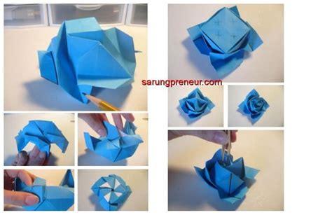 tutorial membuat bunga dari kertas origami cara membuat origami bunga mawar sarungpreneur