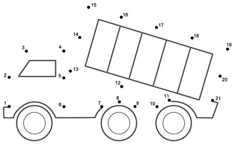 printable dot to dot truck dump truck connect the dots count by 1 s transportation