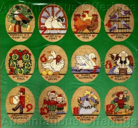 rare linen ornaments set 12 twelve days of christmas cross