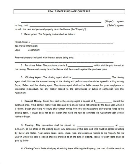 property purchase agreement template free printable real estate purchase agreement solnet sy