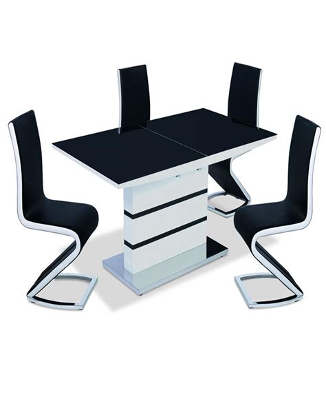 Black Dining Table With White Chairs Aldridge High Gloss Dining Table White With Black Glass Top 4 Chairs 5 Woodlers