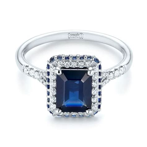 custom blue sapphire and halo engagement ring 103457