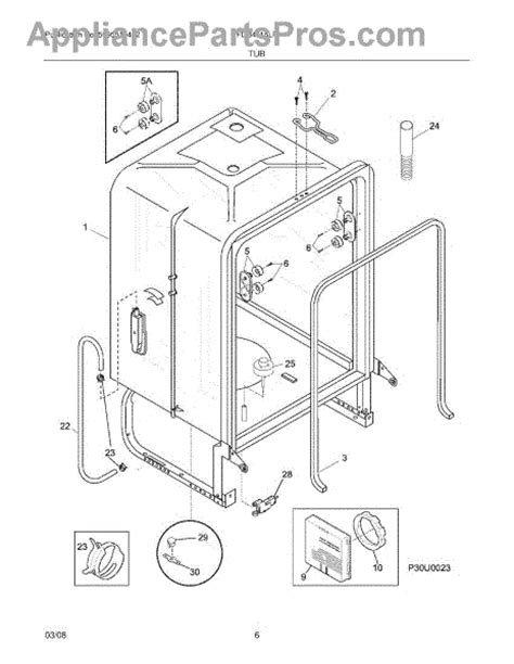 frigidaire gallery dishwasher parts diagram frigidaire 154773201 water level switch assembly