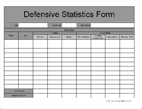 football stat sheet template football defensive stat sheet