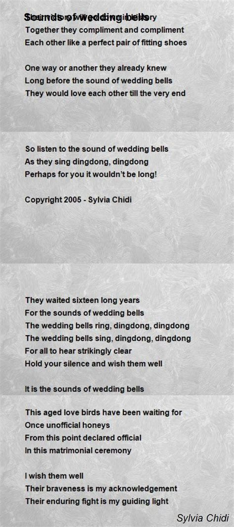 Wedding Bell Poem by Sounds Of Wedding Bells Poem By Sylvia Chidi Poem