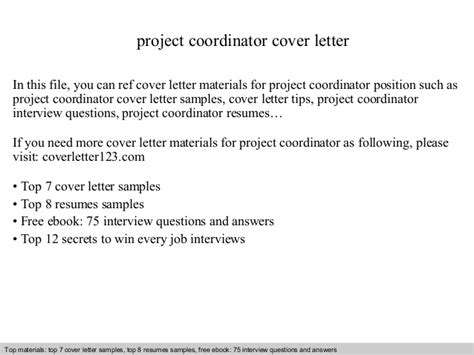 cover letter for project coordinator position project coordinator cover letter
